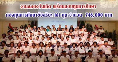 งานฉลองวันเกิด พร้อมมอบทุนการศึกษา กองทุนการศึกษาอัจฉริยะ 161 ทุน จำนวน 746,000 บาท